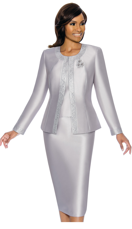 Terramina 7637-SI ( 3pc Silk Look Womens Sunday Suit With Pattern Trim Design And Brooch )