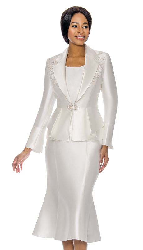 Terramina 7741-WH ( 3pc Silk Look Womens Sunday Suit )