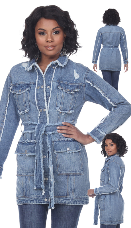 Tesoro Moda 20041-J ( 1pc Premium Oversized Denim Jacket Featuring Distressed Unfinished Edges )