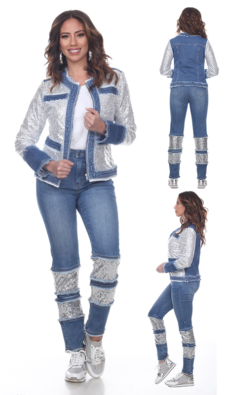 Tesoro Moda 20036-S ( 2pc Premium Sequin And Denim Set )