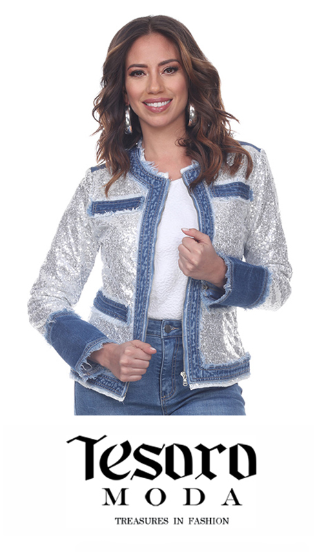 Tesoro Moda 20036-J ( 1pc Premium Sequin And Denim Jacket )