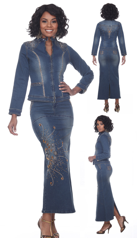 Tesoro Moda 20027-S ( 2pc Premium Denim Set With Rhinestone Embellishment )