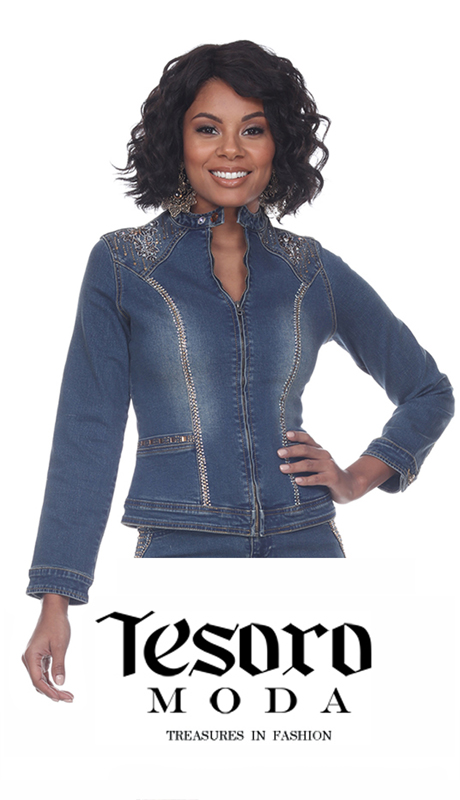 Tesoro Moda 20027-J-CO ( 1pc Premium Denim Jacket With Rhinestone Embellishment )