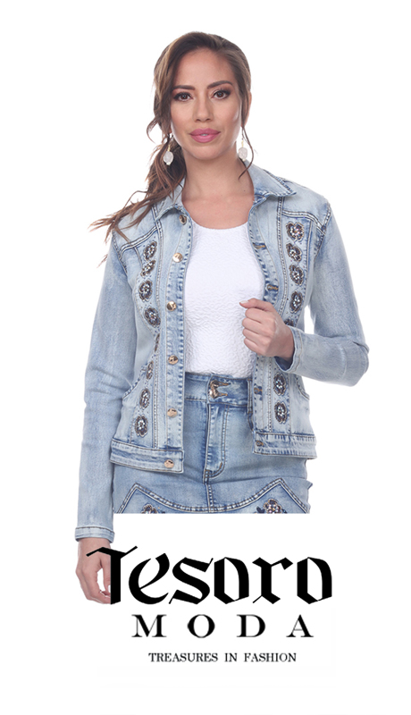 Tesoro Moda 20028-J ( 1pc Premium Denim Jacket With Floral Embroidery )