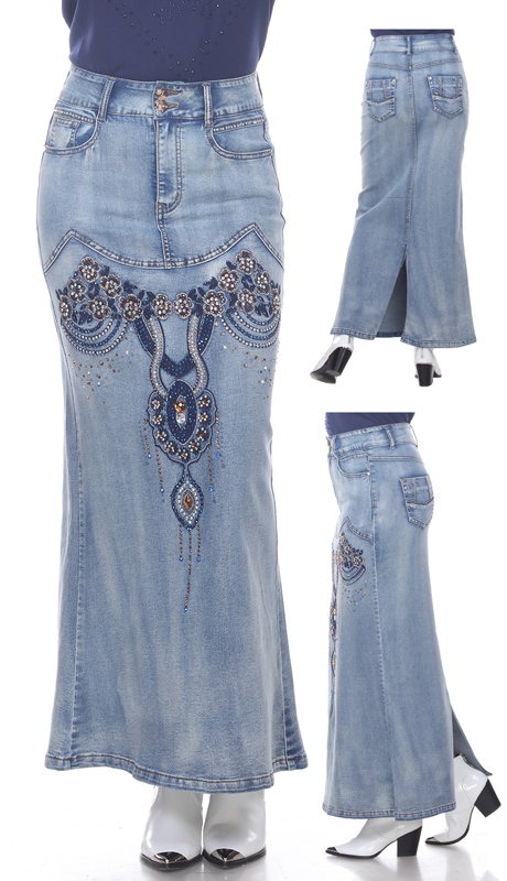 Tesoro Moda 20028-SK ( 1pc Premium Denim Skirt With Floral Embroidery )