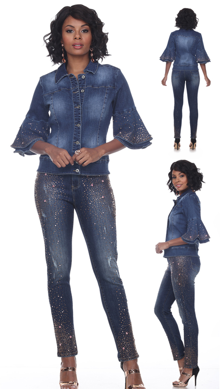 Tesoro Moda 20030-S ( 2pc Premium Denim Set With Rose Gold Embellishments and Peplum Sleeves )