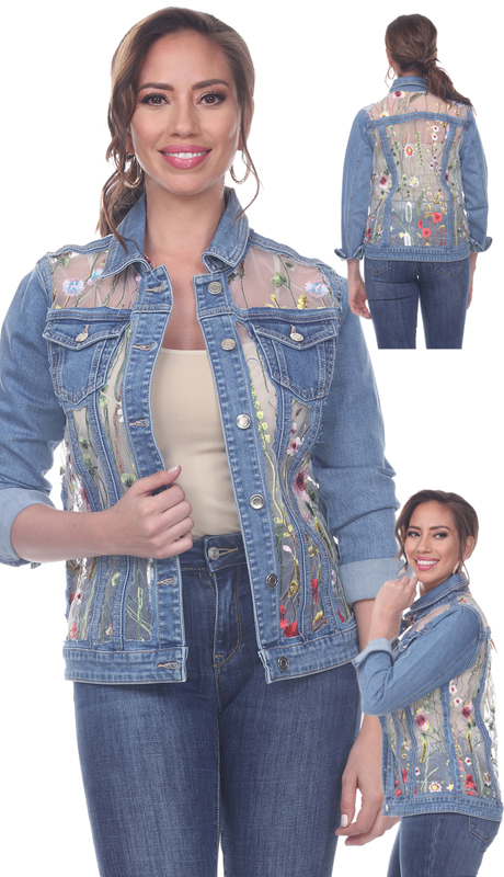 Tesoro Moda 20038-J ( 1pc Premium Denim Jacket With Flora Design )