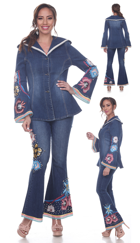 Tesoro Moda 20037-S ( 2pc Premium Denim Set With Cosmic Floral Design )