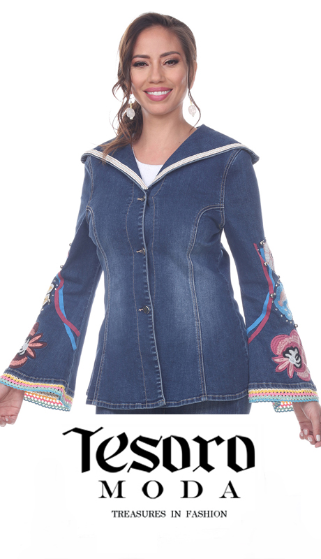 Tesoro Moda 20037-J ( 1pc Premium Denim Jacket With Cosmic Floral Design )