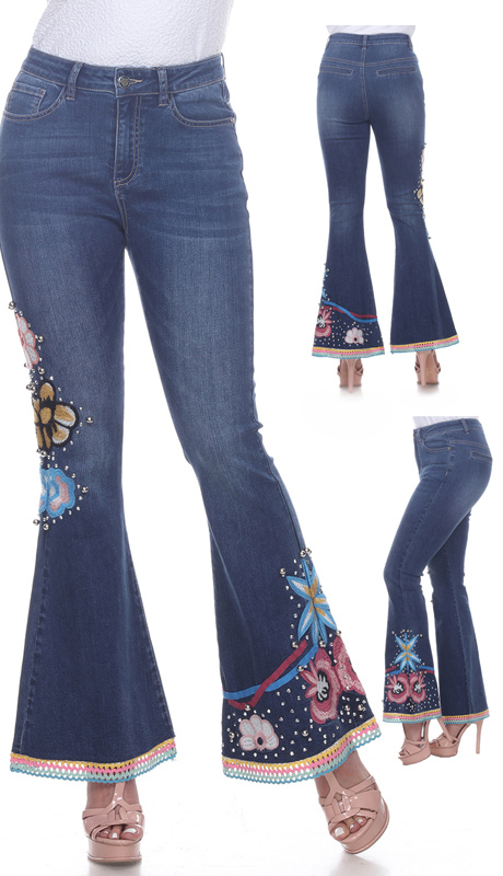 Tesoro Moda 20037-P ( 1pc Premium Denim Pant With Cosmic Floral Design )