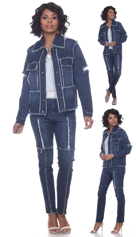 Tesoro Moda 20024-S ( 2pc Premium Denim Set With Distressed Unfinished Edges And Zipper Accents )