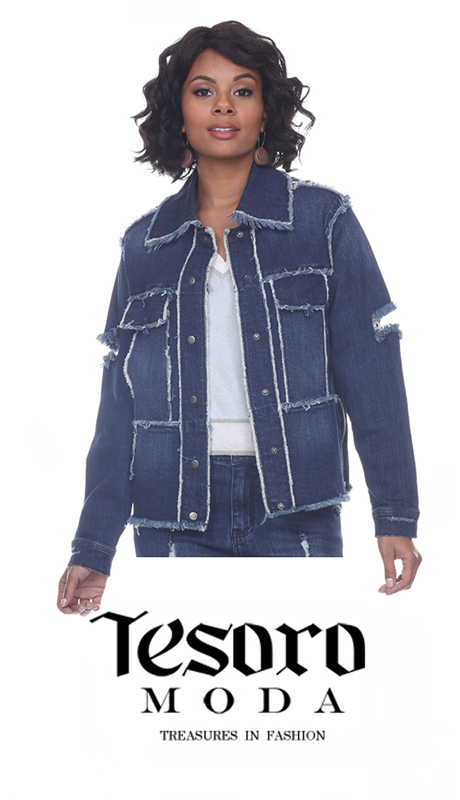 Tesoro Moda 20024-J ( 1pc Premium Denim Jacket With Distressed Unfinished Edges )