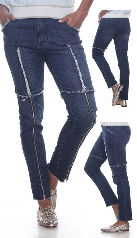 Tesoro Moda 20024-P ( 1pc Premium Denim Pant With Distressed Unfinished Edges And Zipper Accents )