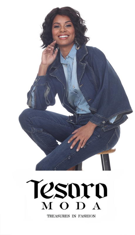 Tesoro Moda 20025R-J ( 1pc Premium Denim Set With Exaggerated Collar And Oversized Peplum Sleeves )