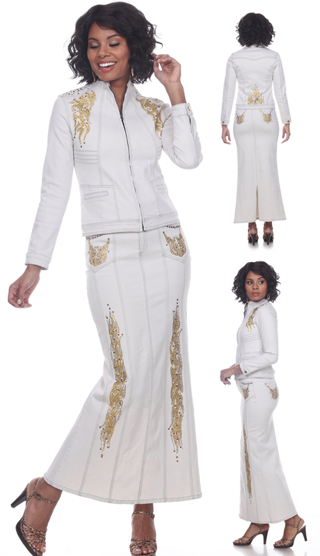 Tesoro Moda 20026-S ( 2pc Premium White Denim Maxi Carmela Skirt Suit With Intricate Gold Embellishment Applique )