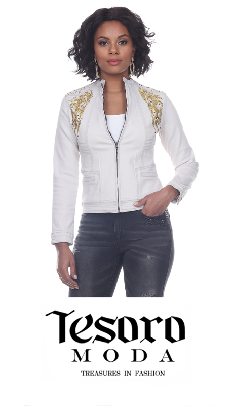 Tesoro Moda 20026-J ( 1pc Premium White Denim Jacket With Intricate Gold Embellishment Applique )