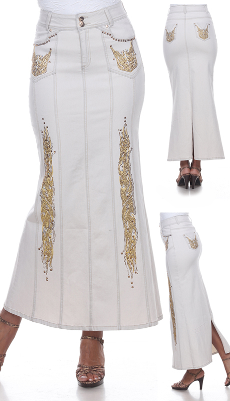 Tesoro Moda 20026-SK ( 1pc Premium White Denim Maxi Carmela Skirt With Intricate Gold Embellishment Applique )