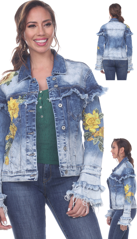 Tesoro Moda 20034-J ( 1pc Premium Denim Jacket With Yellow Floral Emboidery And Distressed Peplum Sleeves )