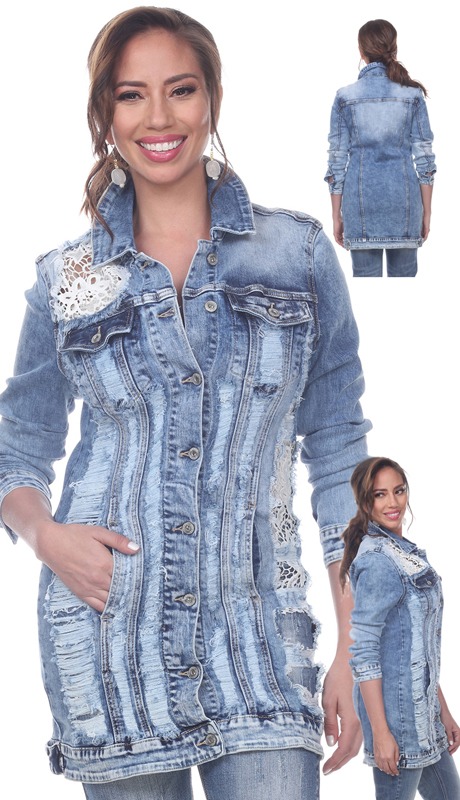 Tesoro Moda 20033-J ( 1pc Premium Denim Jacket With See Through Floral Lace Detailing )