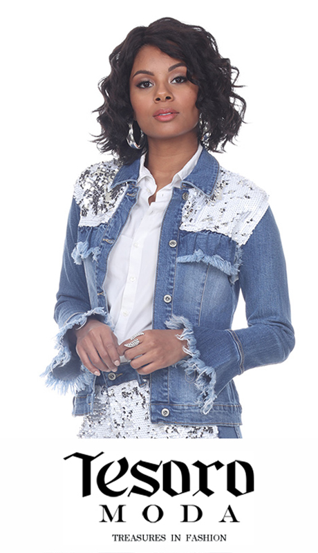 Tesoro Moda 20031-J ( 1pc Premium Reversible Sequin And Denim Jacket )
