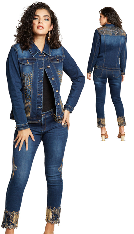 Tesoro Moda 19951-S ( 2pc Premium Denim Set With Spandex )