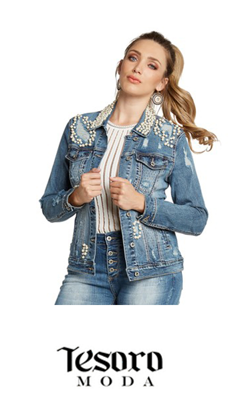 Tesoro Moda 20008-J ( 1pc Premium Denim Jacket With Spandex )