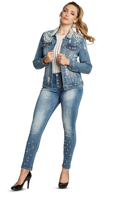 Tesoro Moda 20008-S ( 2pc Premium Denim Set With Spandex )