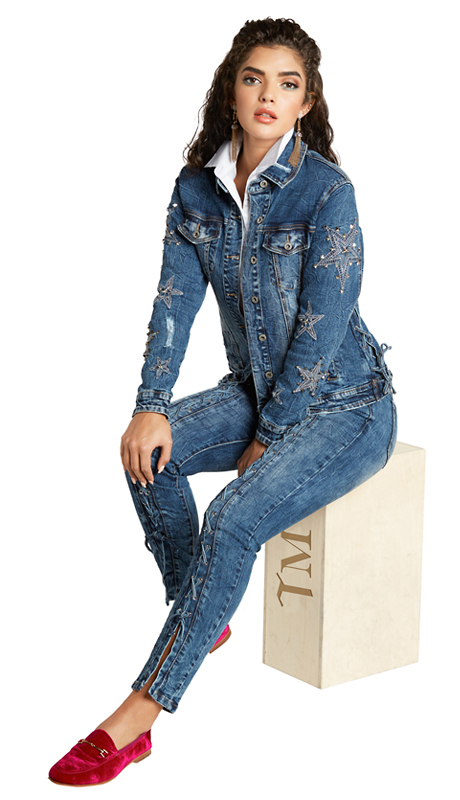 Tesoro Moda 20010-S ( 2pc Premium Denim Set With Spandex )