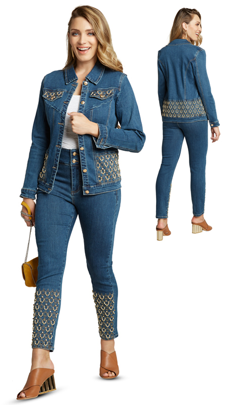 Tesoro Moda 20011-S ( 2pc Premium Denim Set With Spandex )