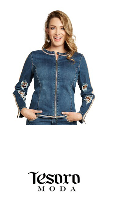 Tesoro Moda 20014-J ( 1pc Premium Denim Jacket With Spandex )