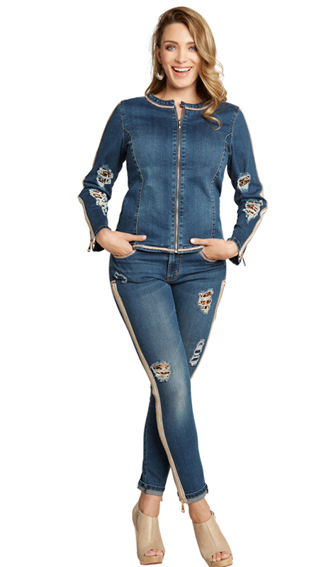 Tesoro Moda 20014-S ( 2pc Premium Denim Set With Spandex )