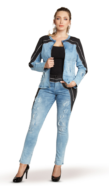 Tesoro Moda 20015-S ( 2pc Premium Denim Set With Spandex )