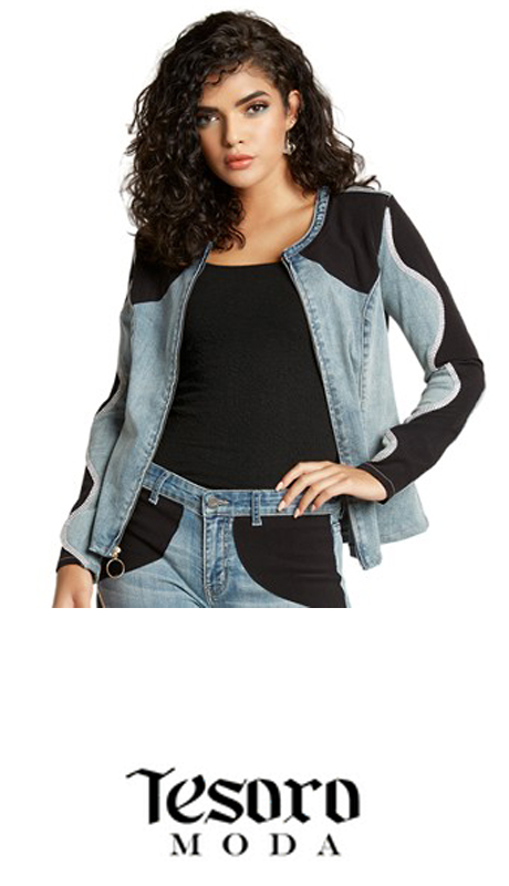 Tesoro Moda 20016-J ( 1pc Premium Denim Jacket With Spandex )