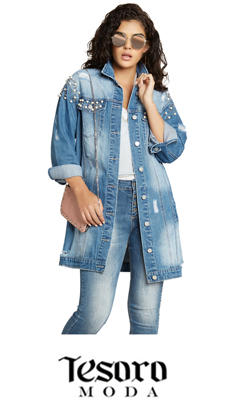 Tesoro Moda 20019-J ( 1pc Premium Denim Jacket )
