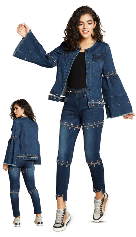 Tesoro Moda 20022-S ( 2pc Premium Denim Set With Spandex )
