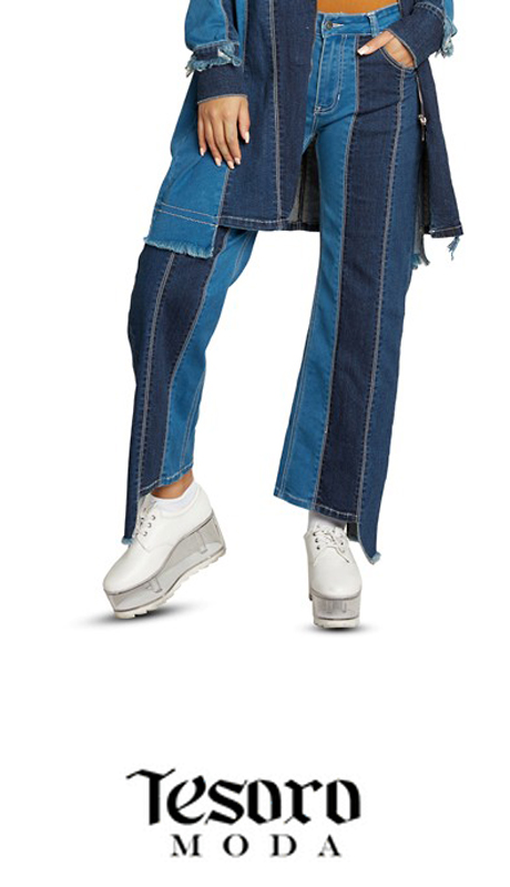 Tesoro Moda 20023-P ( 1pc Premium Denim Pant With Spandex )