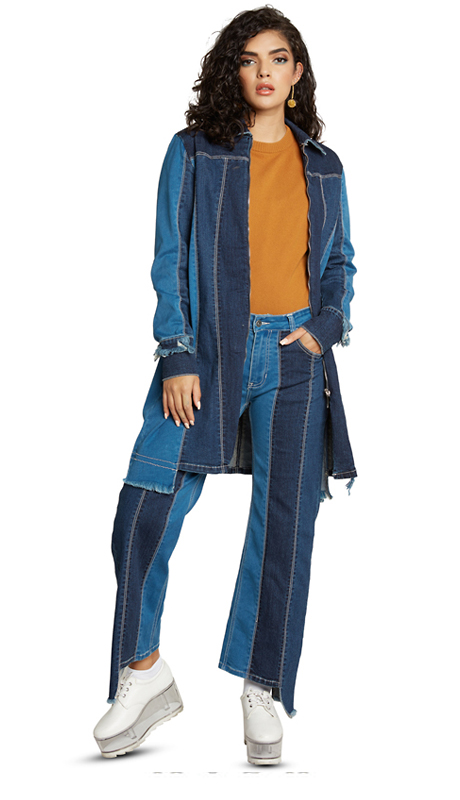 Tesoro Moda 20023-S ( 2pc Premium Denim Set With Spandex )