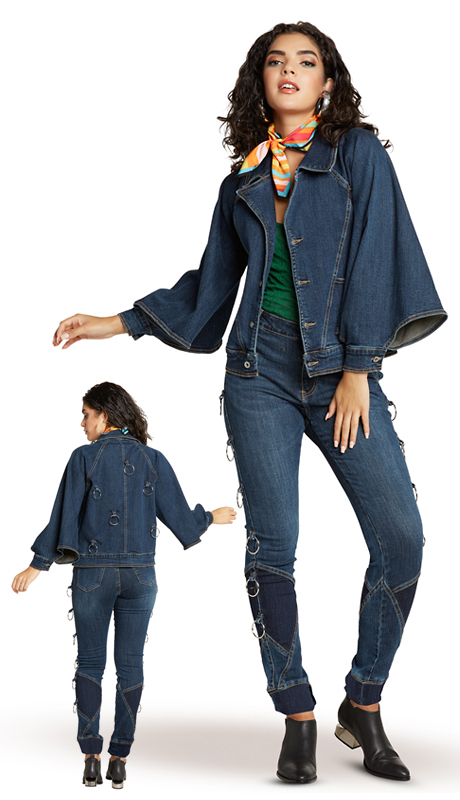 Tesoro Moda 20025-S ( 2pc Premium Denim Set With Spandex )