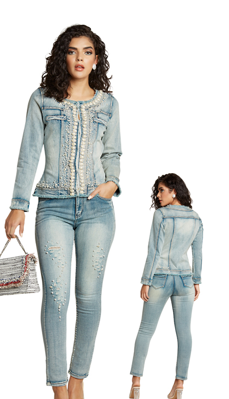 Tesoro Moda 20005-S ( 2pc Premium Denim Set With Spandex )