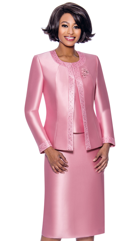 Terramina 7637-PI ( 3pc Silk Look Womens Sunday Suit With Pattern Trim Design And Brooch )