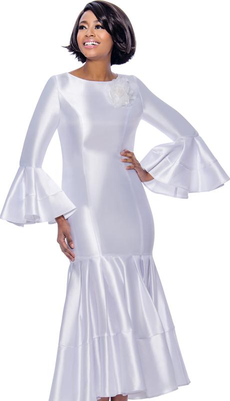 Terramina 7764-WH ( 1pc Silk Look Pleated Drop Waist Dress With Flounce Sleeves )