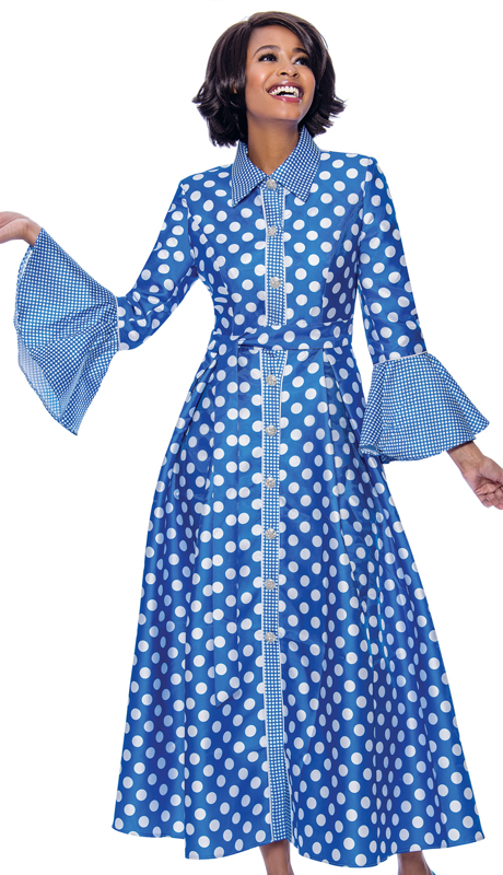 Terramina 7785-RO ( 1pc Silk Look Long Pleated Dress In Polka Dot Design With Bell Cuff Sleeves )