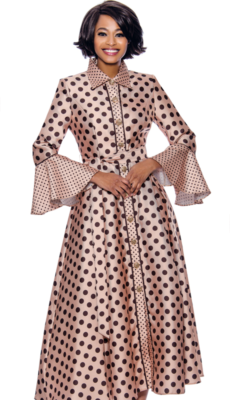 Terramina 7785-CH ( 1pc Silk Look Long Pleated Dress In Polka Dot Design With Bell Cuff Sleeves )