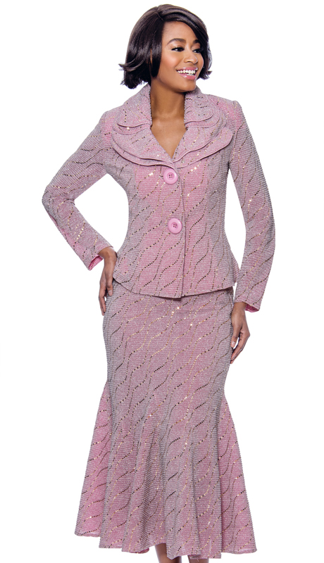Terramina 7795-RO ( 2pc Knit Embellished Flared Skirt Suit With Layered Collar And Two Button Jacket )