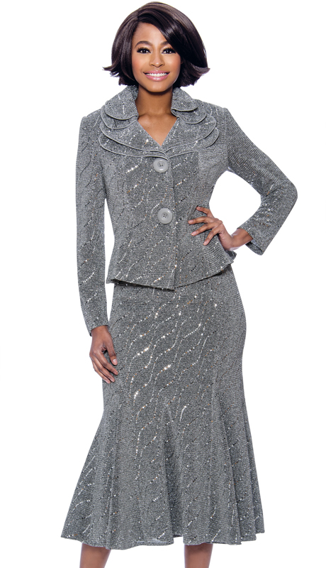 Terramina 7795-SI ( 2pc Knit Embellished Flared Skirt Suit With Layered Collar And Two Button Jacket )