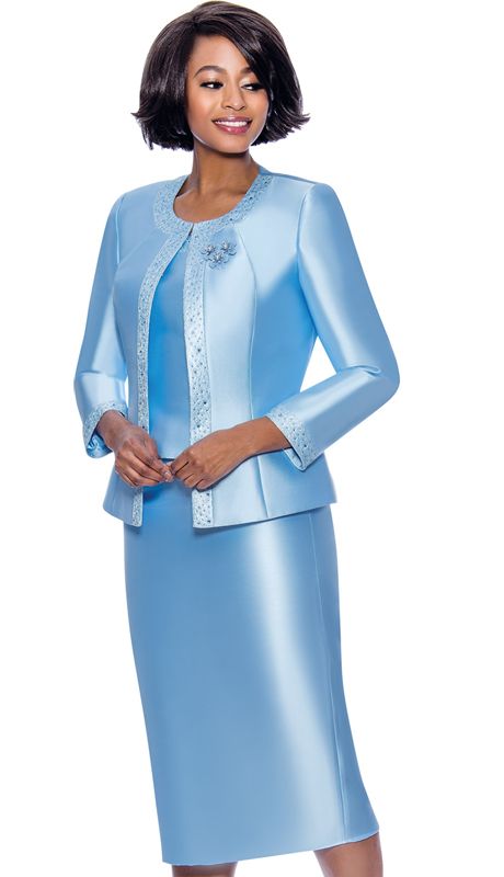 Terramina 7637-BL ( 3pc Silk Look Womens Sunday Suit With Pattern Trim Design And Brooch )