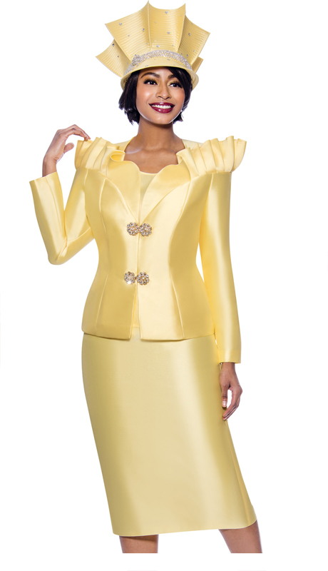 Terramina 7811-YE ( 3pc Silk Look Womens Church Suit Featuring Pleated Stand-Up Over Shoulder Collar )