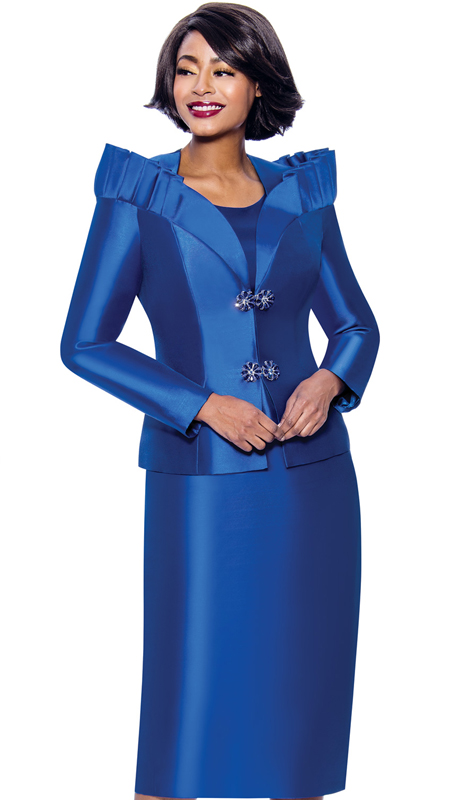 Terramina 7811-RO ( 3pc Silk Look Womens Church Suit Featuring Pleated Stand-Up Over Shoulder Collar )