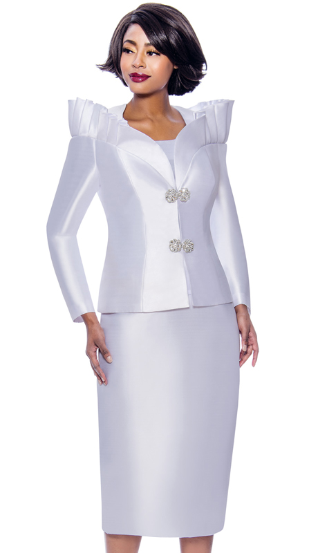 Terramina 7811-WH ( 3pc Silk Look Womens Church Suit Featuring Pleated Stand-Up Over Shoulder Collar )