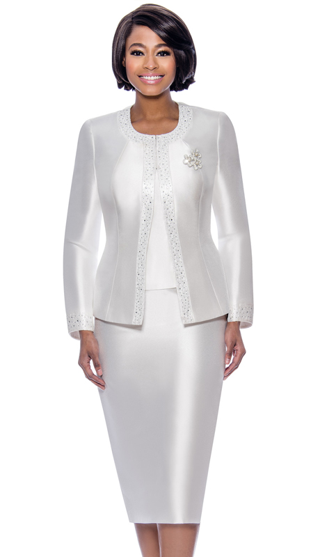 Terramina 7637-WH ( 3pc Silk Look Womens Sunday Suit With Pattern Trim Design And Brooch )